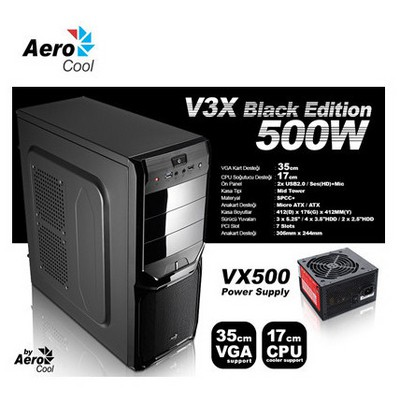 Aerocool Ae-v3x500b 500w V3x500b, Mesh Ön Panel,mid Tower Oyuncu Ve Performans sı Kasa