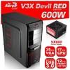 Aerocool V3X Advance Devil Red 600w Gaming Kasa - AE-V3XA600R