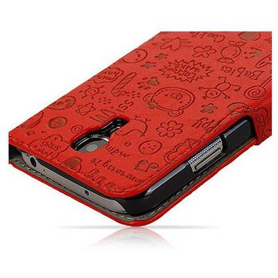 Microsonic Cute Figürlü Deri Kılıf Samsung Galaxy S4 I9500 Kırmızı Cep Telefonu Kılıfı