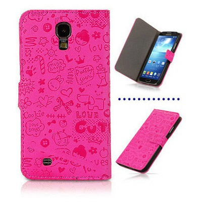 Microsonic Cute Figürlü Deri Kılıf Samsung Galaxy S4 I9500 Pembe Cep Telefonu Kılıfı
