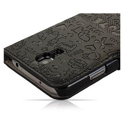 Microsonic Cute Figürlü Deri Kılıf Samsung Galaxy S4 I9500 Siyah Cep Telefonu Kılıfı