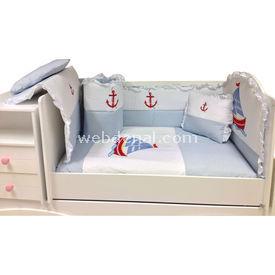 Baby Home 39001 Alt Açmalı Bebek Uyku Seti Külahlı Ayı Mavi-yelkenli Uyku Setleri