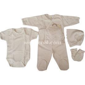 Tory Baby 111083 Hastane Çıkışı 5li Set Ekru 0-3 Ay (56-62 Cm) Kız Bebek Hastane Çıkışı