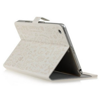Microsonic Cute Desenli Kickstand Ipad Mini Deri Kılıfı Beyaz Tablet Kılıfı