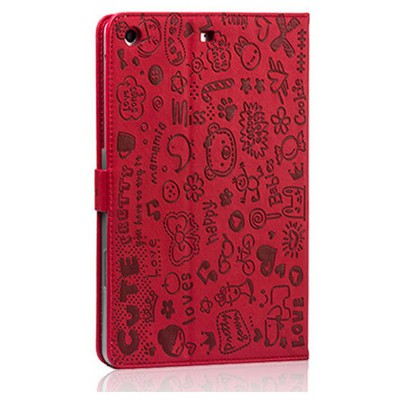Microsonic Cute Desenli Kickstand Ipad Mini Deri Kılıfı Kırmızı Tablet Kılıfı