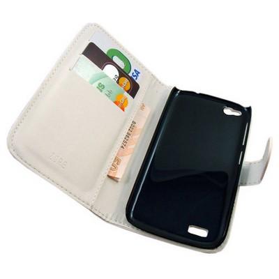 Microsonic Cüzdanlı Deri Kılıf - General Mobile Discovery - Beyaz Cep Telefonu Kılıfı