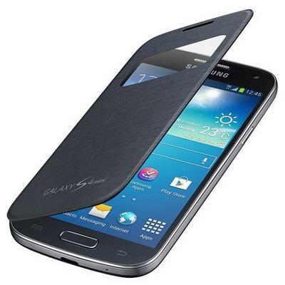 Microsonic View Cover Delux Kapaklı Kılıf Samsung Galaxy S4 Mini I9190 Siyah Cep Telefonu Kılıfı
