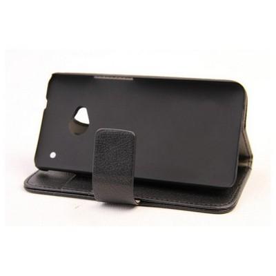 Microsonic Cüzdanlı Standlı Deri Kılıf - Htc One M7 Siyah Cep Telefonu Kılıfı