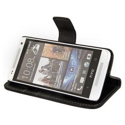 Microsonic Cüzdanlı Standlı Deri Kılıf - Htc One Mini M4 Siyah Cep Telefonu Kılıfı