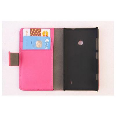Microsonic Cüzdanlı Standlı Deri Kılıf - Nokia Lumia 520 Pembe Cep Telefonu Kılıfı
