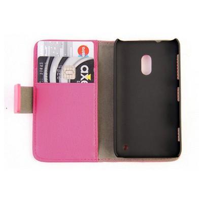 Microsonic Cüzdanlı Standlı Deri Kılıf - Nokia Lumia 620 Pembe Cep Telefonu Kılıfı