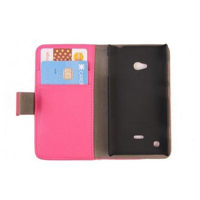 Microsonic Cüzdanlı Standlı Deri Kılıf - Nokia Lumia 720 Pembe Cep Telefonu Kılıfı
