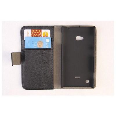 Microsonic Cüzdanlı Standlı Deri Kılıf - Nokia Lumia 720 Siyah Cep Telefonu Kılıfı