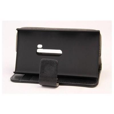 Microsonic Cüzdanlı Standlı Deri Kılıf - Nokia Lumia 920 Siyah Cep Telefonu Kılıfı