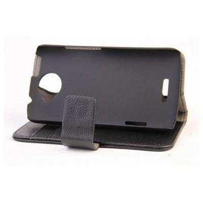 Microsonic Cüzdanlı Standlı Deri Kılıf - Htc One X Siyah Cep Telefonu Kılıfı