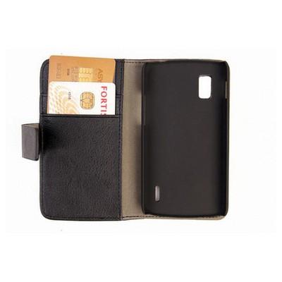 Microsonic Cüzdanlı Standlı Deri Kılıf - Lg Nexus 4 E960 Siyah Cep Telefonu Kılıfı