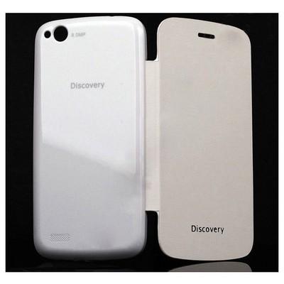 Microsonic Delux Kapaklı Kılıf General Mobile Discovery Beyaz Cep Telefonu Kılıfı