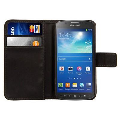 Microsonic Cüzdanlı Deri Kılıf - Samsung Galaxy S4 Active I9295 Siyah Cep Telefonu Kılıfı