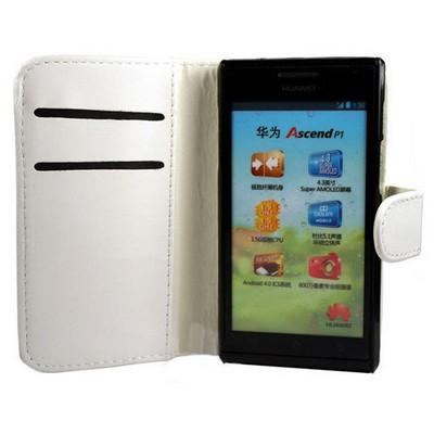 Microsonic Cüzdanlı Deri Kılıf - Huawei Ascent P1 Beyaz Cep Telefonu Kılıfı