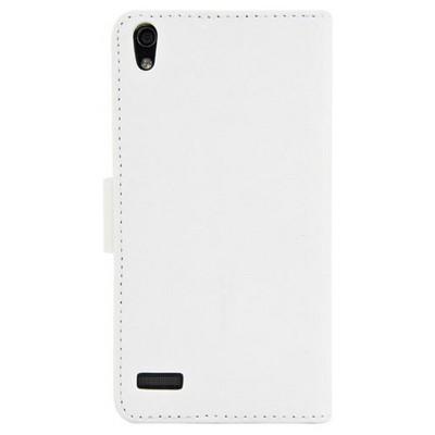 Microsonic Cüzdanlı Deri Kılıf - Huawei Ascent P6 Beyaz Cep Telefonu Kılıfı