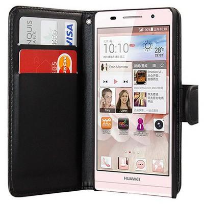 Microsonic Cüzdanlı Deri Kılıf - Huawei Ascent P6 Siyah Cep Telefonu Kılıfı