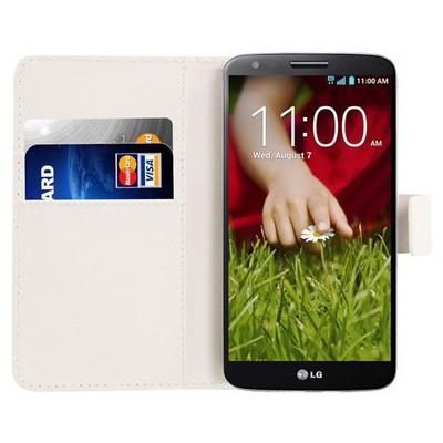 Microsonic Cüzdanlı Deri Kılıf - Lg G2 Beyaz Cep Telefonu Kılıfı