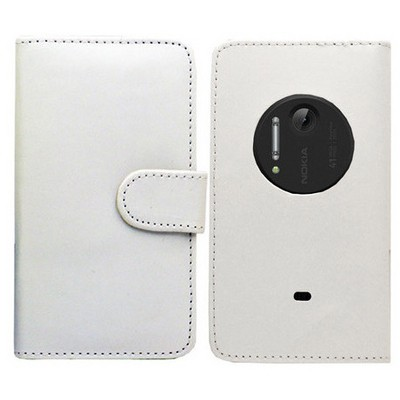 Microsonic Cüzdanlı Deri Kılıf - Nokia Lumia 1020 Beyaz Cep Telefonu Kılıfı
