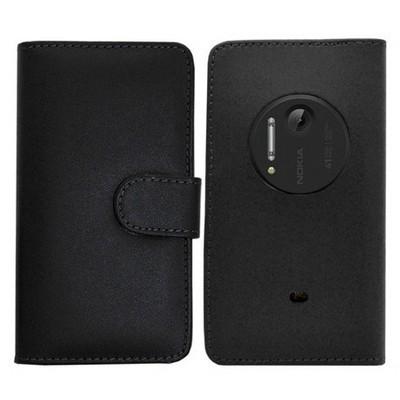 Microsonic Cüzdanlı Deri Kılıf - Nokia Lumia 1020 Siyah Cep Telefonu Kılıfı