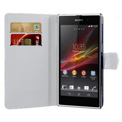 Microsonic Cüzdanlı Deri Kılıf - Sony Xperia Z1 - Beyaz Cep Telefonu Kılıfı