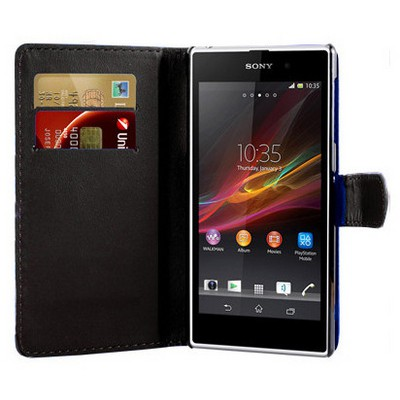 Microsonic Cüzdanlı Deri Kılıf - Sony Xperia Z1 - Siyah Cep Telefonu Kılıfı