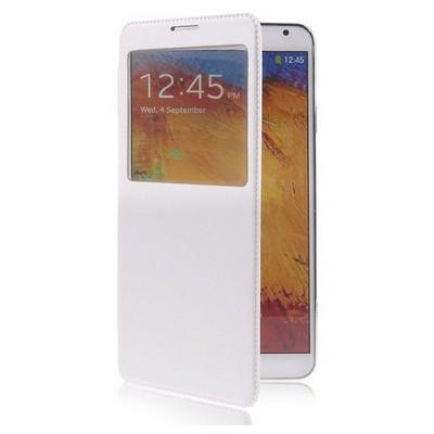 Microsonic View Cover Delux Kapaklı Kılıf Samsung Galaxy Note3 N9000 Beyaz Cep Telefonu Kılıfı
