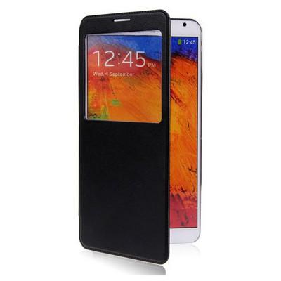 Microsonic View Cover Delux Kapaklı Kılıf Samsung Galaxy Note3 N9000 Siyah Cep Telefonu Kılıfı