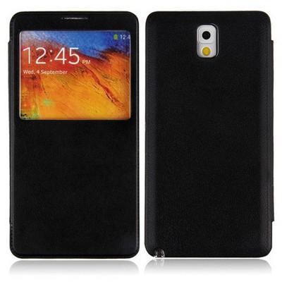 Microsonic View Cover Delux Kapaklı Kılıf Samsung Galaxy Note3 N9000 Siyah