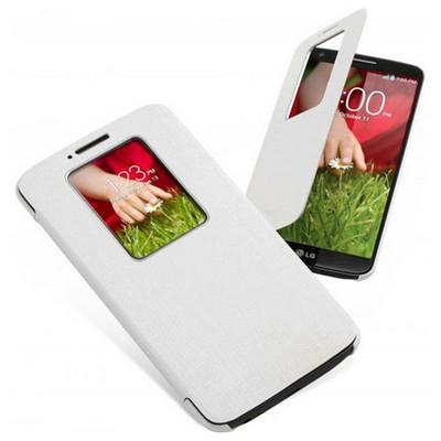 Microsonic View Cover Delux Kapaklı Kılıf Lg Optimus G2 Akıllı Pencere Modlu Beyaz Cep Telefonu Kılıfı