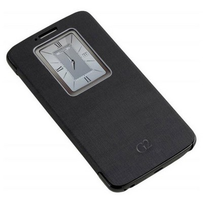 Microsonic View Cover Delux Kapaklı Kılıf Lg Optimus G2 Akıllı Pencere Modlu Siyah Cep Telefonu Kılıfı