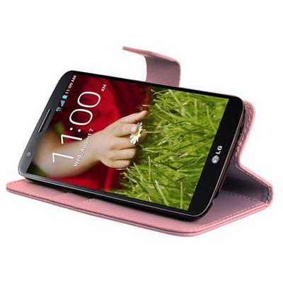 Microsonic Cüzdanlı Standlı Deri Kılıf - Lg Optimus G2 Pembe Cep Telefonu Kılıfı