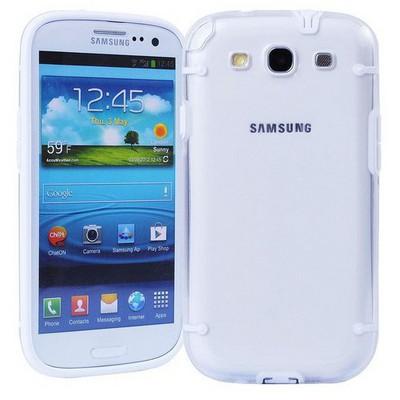 Microsonic Hybrid Transparant Kılıf - Samsung Galaxy S3 I9300 Beyaz Cep Telefonu Kılıfı