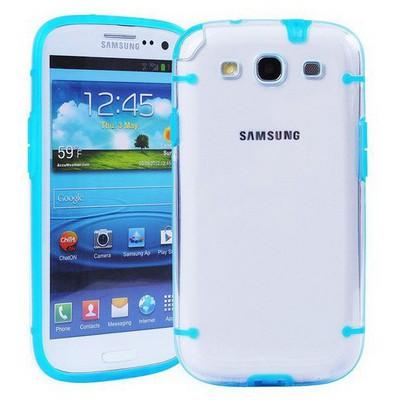 Microsonic Hybrid Transparant Kılıf - Samsung Galaxy S3 I9300 Mavi Cep Telefonu Kılıfı