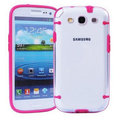 Microsonic Hybrid Transparant Kılıf - Samsung Galaxy S3 I9300 Pembe Cep Telefonu Kılıfı