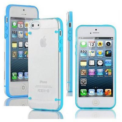 Microsonic Hybrid Transparant Kılıf - Iphone 5 & 5s Mavi Cep Telefonu Kılıfı
