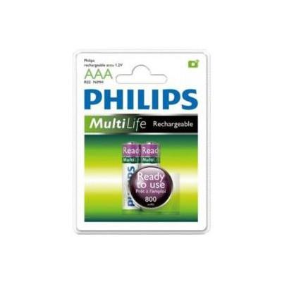 Philips R03b2rtu8-97 Bat 800 Mah Aaa Şarjlı 2 Adet Pil % 100 Dolu Rechargeable Pil / Şarj Cihazı