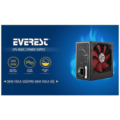 Everest Eps-1660c 400w 20+4 Pin 3 Sata 13cm Fan On/off Düğmeli Güç Kaynağı