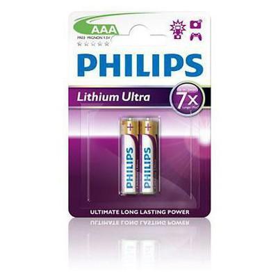 Philips Fr03lb2a-10 Lithium Ultra Alkalın Aaa Kalem Pil 2'li Blister Pil / Şarj Cihazı