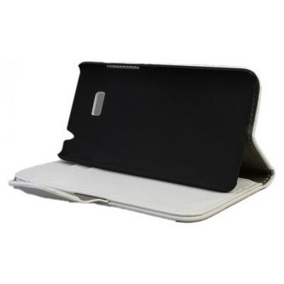 Microsonic Cüzdanlı Standlı Deri Kılıf - Htc Desire 600 Dual Sim 606w Beyaz Cep Telefonu Kılıfı