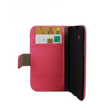 Microsonic Cüzdanlı Standlı Deri Kılıf - Htc Desire 600 Dual Sim 606w Pembe Cep Telefonu Kılıfı