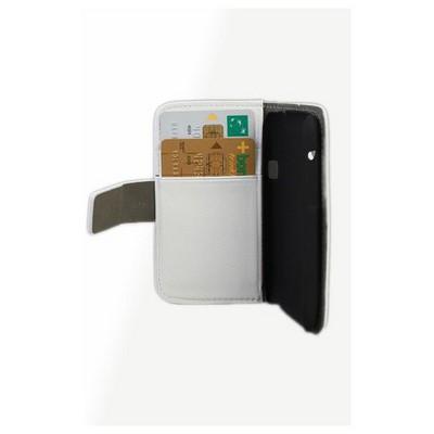 Microsonic Cüzdanlı Standlı Deri Kılıf - Htc Desire X Beyaz Cep Telefonu Kılıfı