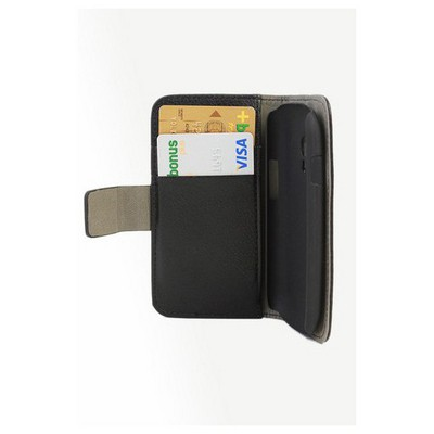 Microsonic Cüzdanlı Standlı Deri Kılıf - Samsung Galaxy S3 Mini I8190 Siyah Cep Telefonu Kılıfı