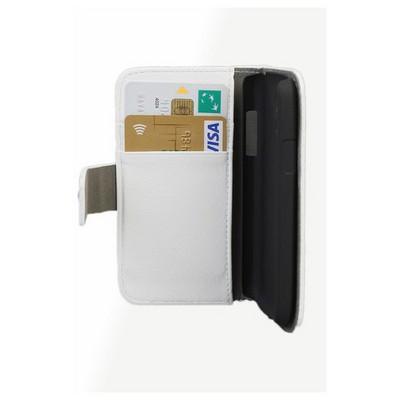 Microsonic Cüzdanlı Standlı Deri Kılıf - Samsung Galaxy S4 Mini I9190 Beyaz Cep Telefonu Kılıfı