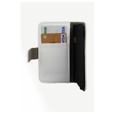 Microsonic Cüzdanlı Standlı Deri Kılıf - Htc One M7 Beyaz Cep Telefonu Kılıfı