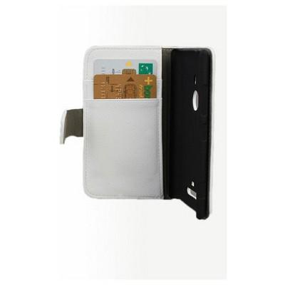 Microsonic Cüzdanlı Standlı Deri Kılıf - Nokia Lumia 925 Beyaz Cep Telefonu Kılıfı